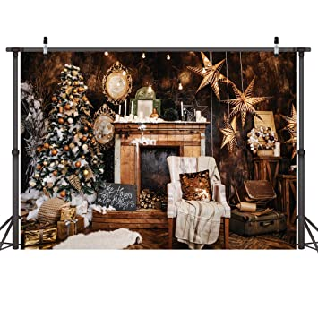 LYWYGG 7X5FT Feliz Navidad Árbol de Navidad Verde Fondos de Fotos Pared Marrón Antiguo Chimenea Colgar