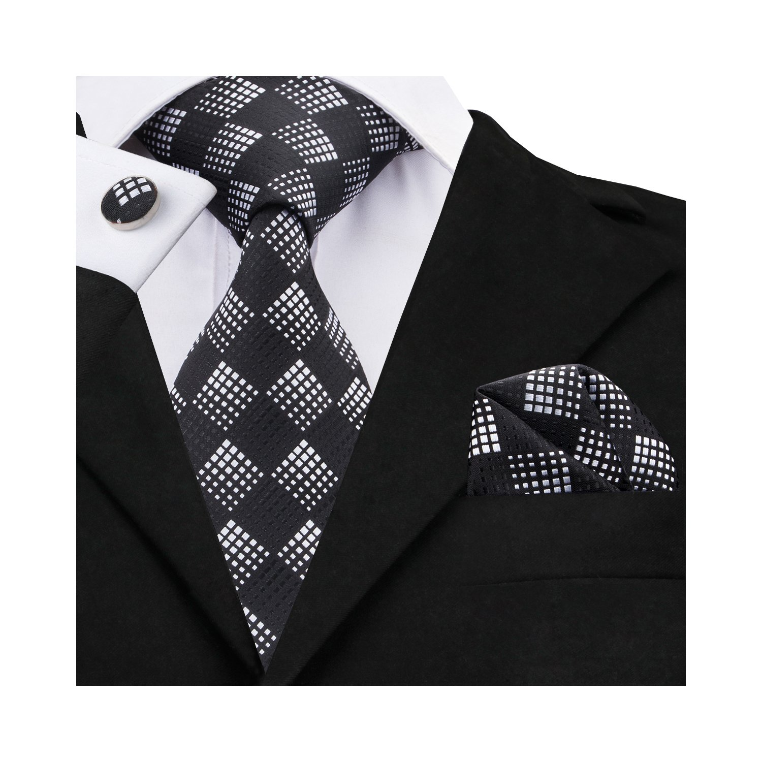 1250d205e6aa ○Size:Tie Width: 3.35 inches(8.5cm); Tie Length: 59 inches(150cm);  Handkerchief Size: 9 inches x 9 inche(23cm x 23cm); Cufflink Diameter:0.55  inches(1.4cm)