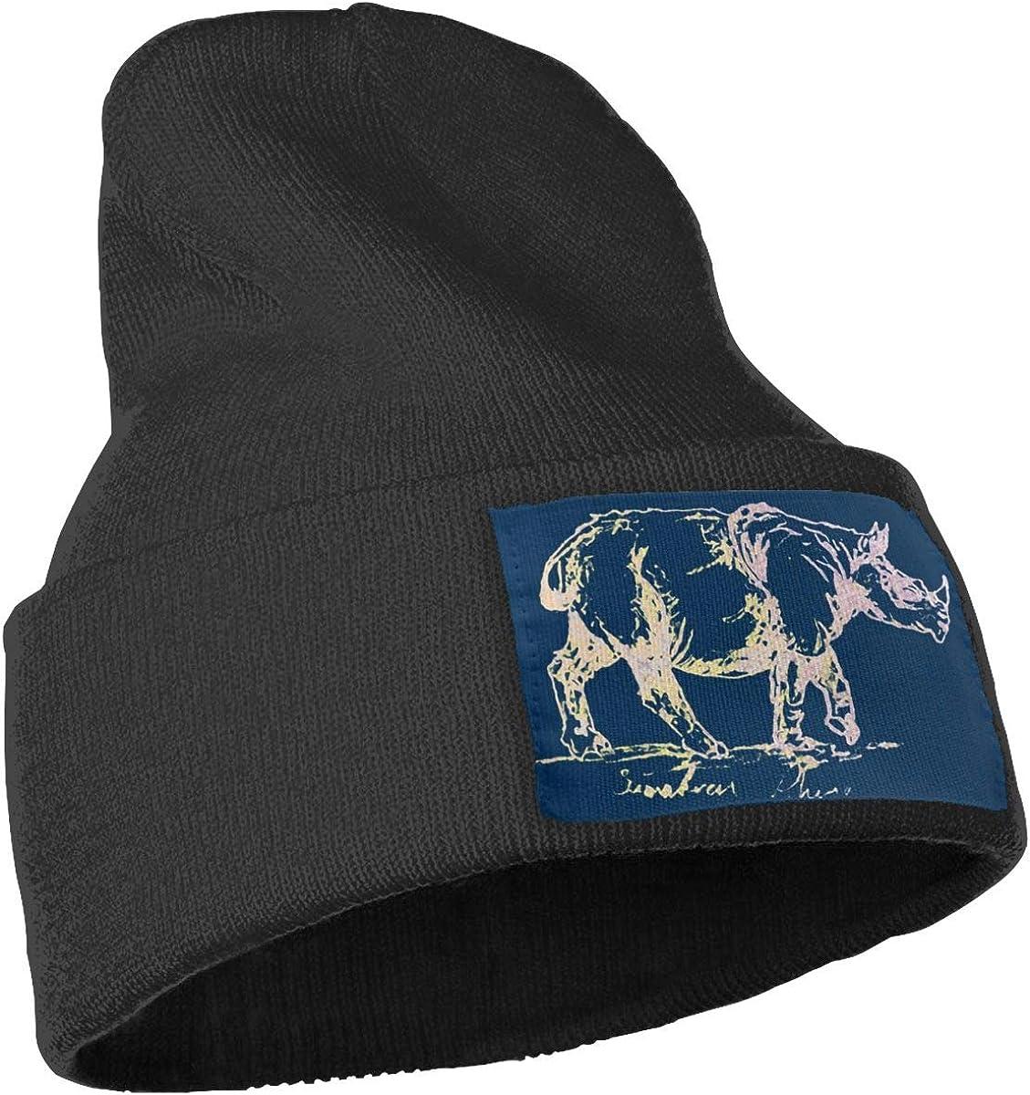 QZqDQ Sumatran Rhino Navy Unisex Fashion Knitted Hat Luxury Hip-Hop Cap