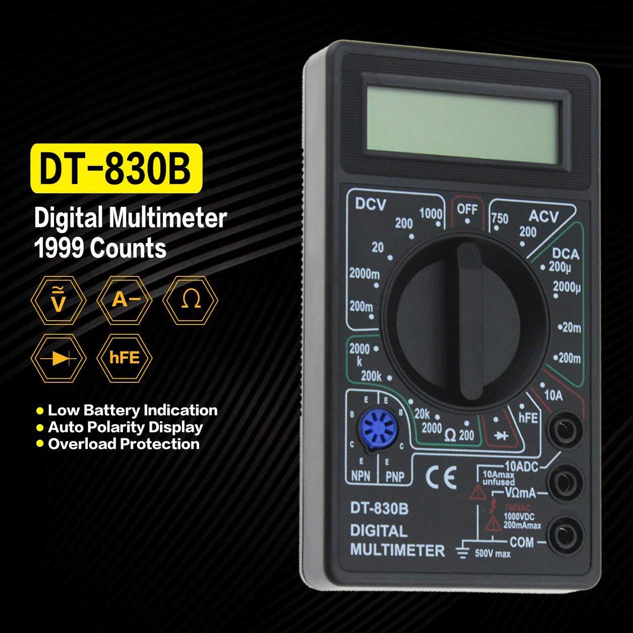 DT-830B Mini Multímetro Digital de Bolsillo 1999 Cuenta con Voltímetro de Amperímetro Amperímetro Amperímetro AC/DC Voltímetro Amperímetro (Color: ...