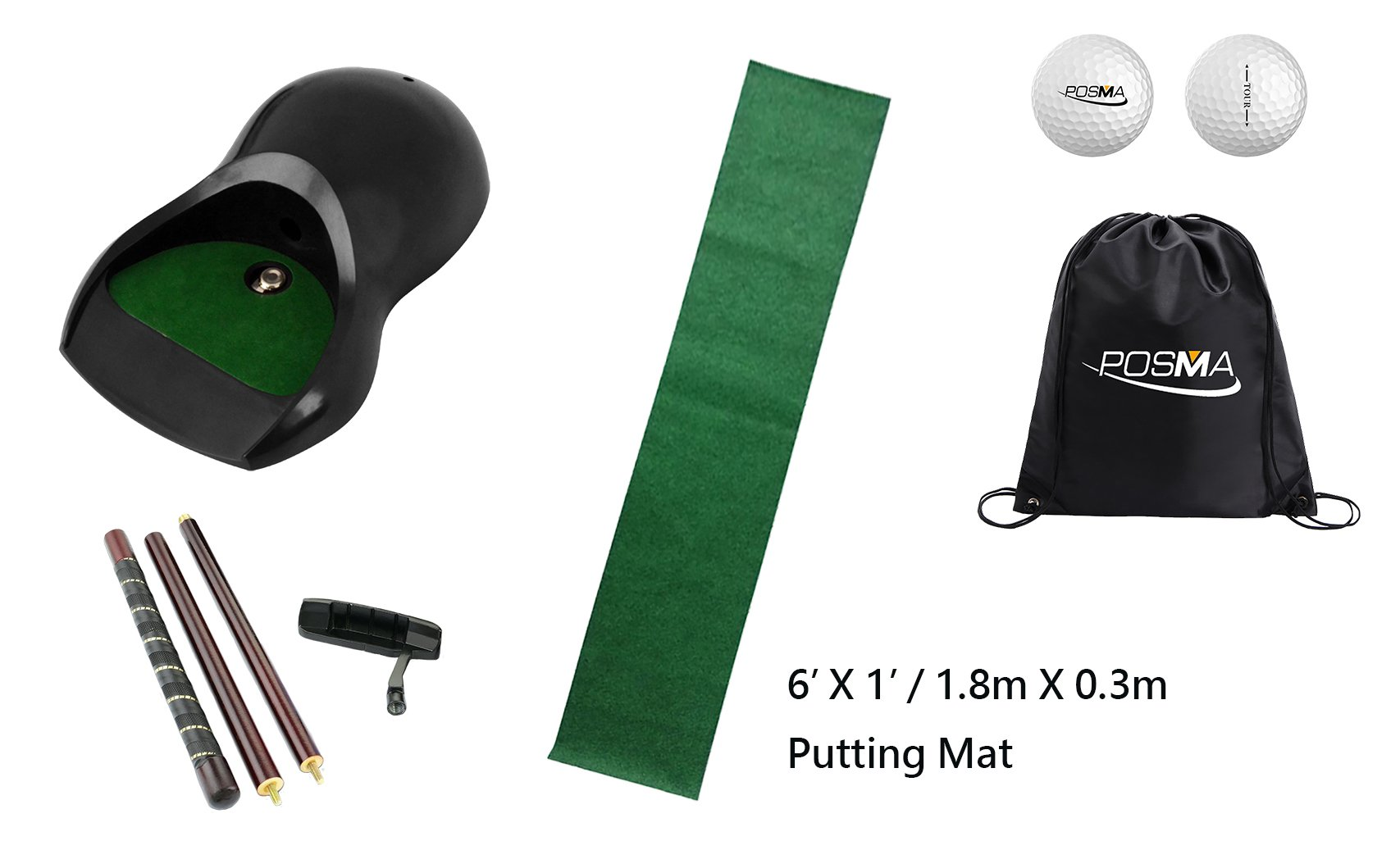 Posma PG160D Golf Putter Training Putting Trainer Bundle Gift Set with Kickback Putt Cup, 6ft x 1ft Putt Mat, Detachable 4-section putter, 2pcs Posma Tour Ball and Posma Cinch Sack Carry Bag