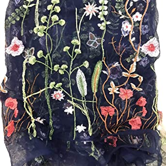 FLORAL EMBROIDERED DENIM FABRIC-SOLD BY THE METER
