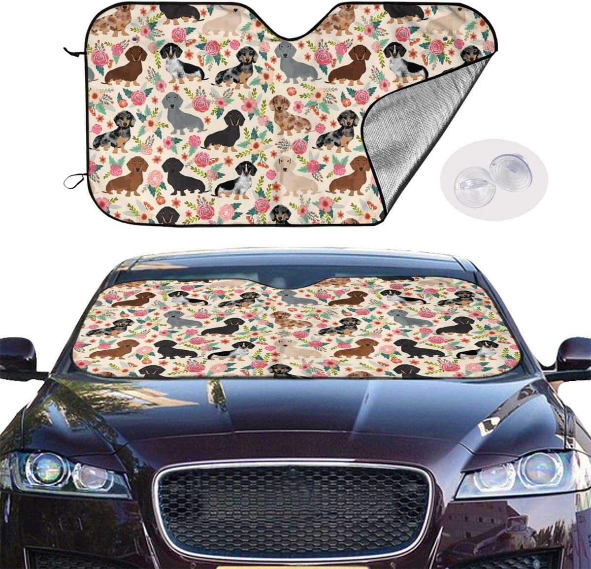 27.5 X 51 Inch Automotive Sunshades Easy to Fold and Store . Personalized Customized Car Glass Sunshade Flowers Pink Dachshund Summer Car Cooling Windshield Sunshade