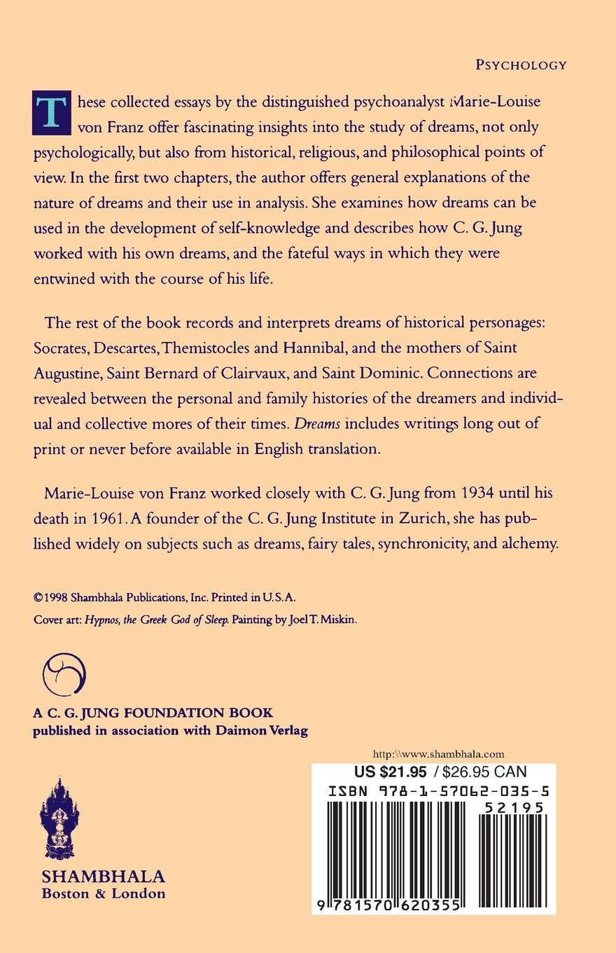 dreams a study of the dreams of jung descartes socrates and dreams a study of the dreams of jung descartes socrates and other historical figures c g jung foundation book marie louise von franz 9781570620355