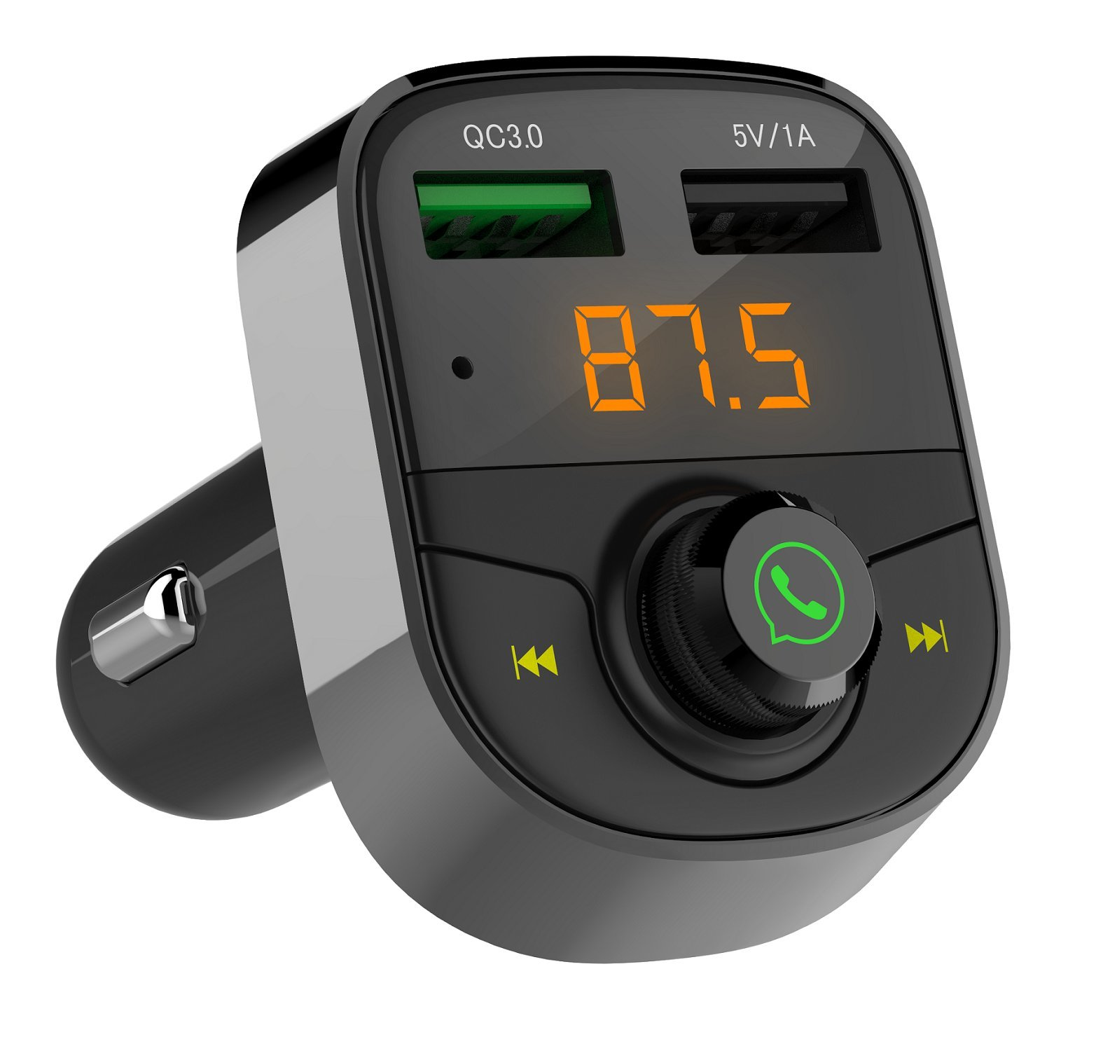 Wireless Bluetooth FM Transmitter for Car,Call Music Receiver and Adapter,USB Ports Support Fast Charger and USB Flash Drive fit for iphone,Samsung,most Bluetooth Electronics