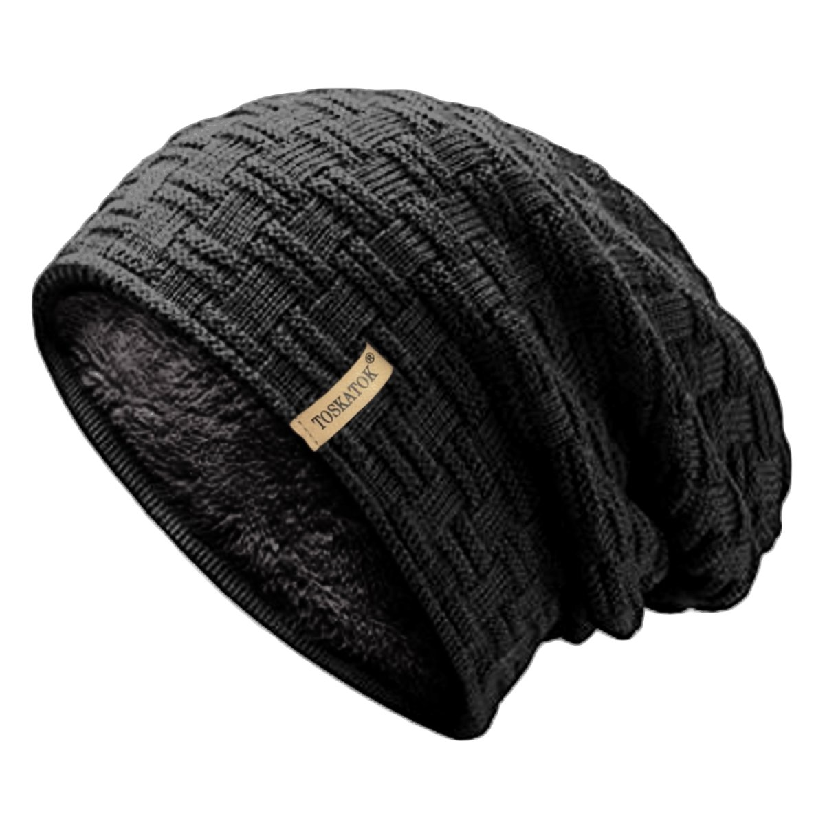 fb333ccef562 TOSKATOK Ladies Mens Unisex Warm Winter Textured Knit Slouch Beanie Hat  with Cosy Faux Fur Teddy Fleece Liner-Black: Amazon.co.uk: Clothing