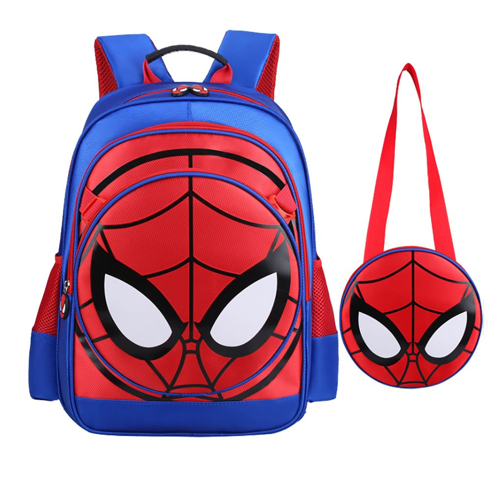 Alipher 3D Backpack Waterproof School Backpack Spiderman Fans Comic School Bag With Mini shoulder Bag As Gift Blue