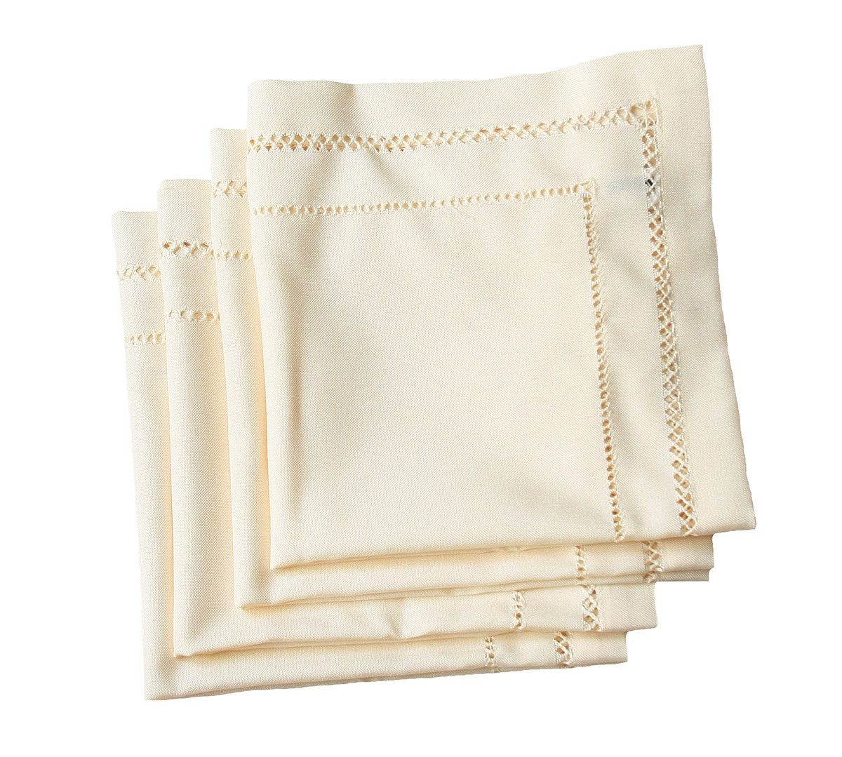 Xia Home Fashions Double Hemstitch Easy Care Napkins, 20 by 20-Inch, Ivory, Set of 4