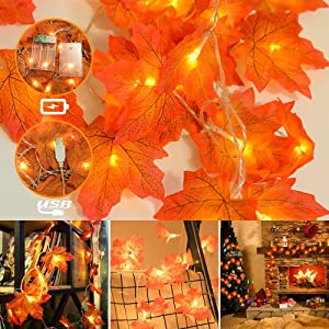 Thanksgiving Christmas Decorations Lights - Autumn Maple Leaf Garland Battery & USB 2-in-1,20 LEDs,6.56ft Christmas Hanging String Lighting Decor for Indoor Outdoor Garden