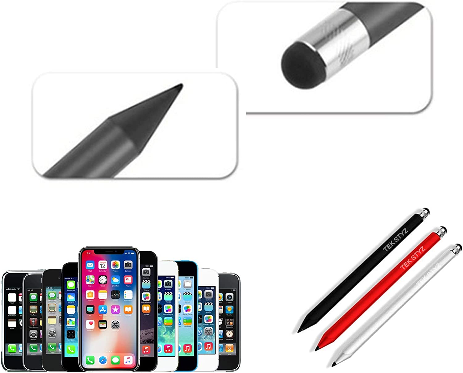 Pen Works for Sonim XP5560 Bolt with Custom High Sensitivity Touch and Black Ink! 3 Pack - Silver Red Black Tek Styz PRO Stylus