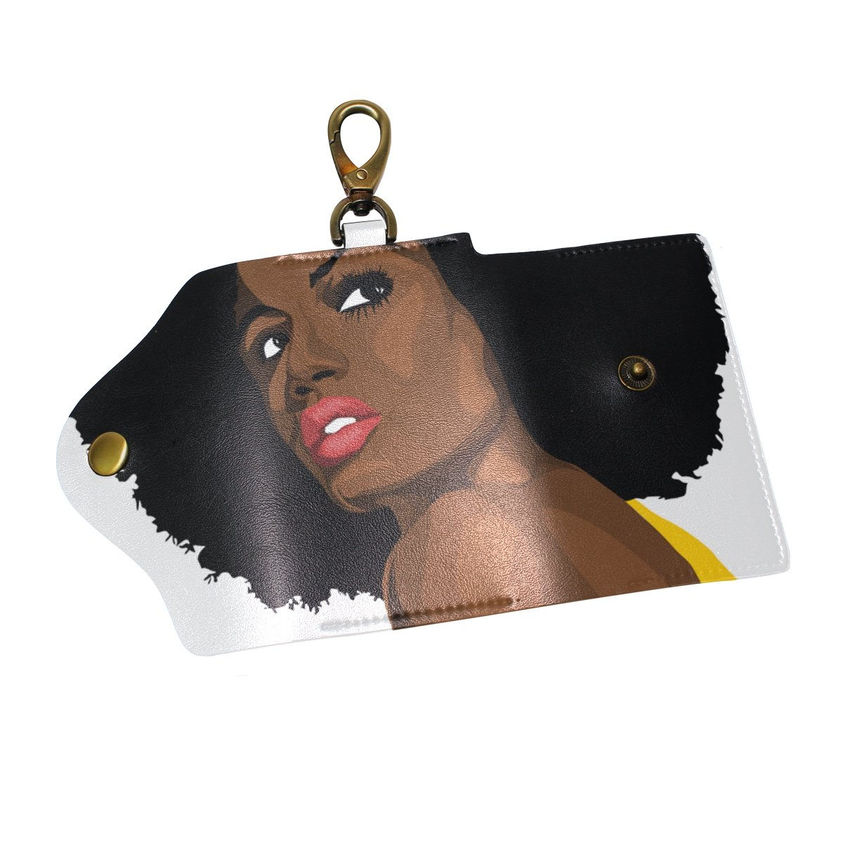 DEYYA African Women Leather Key Case Wallets Unisex Keychain Key Holder with 6 Hooks Snap Closure