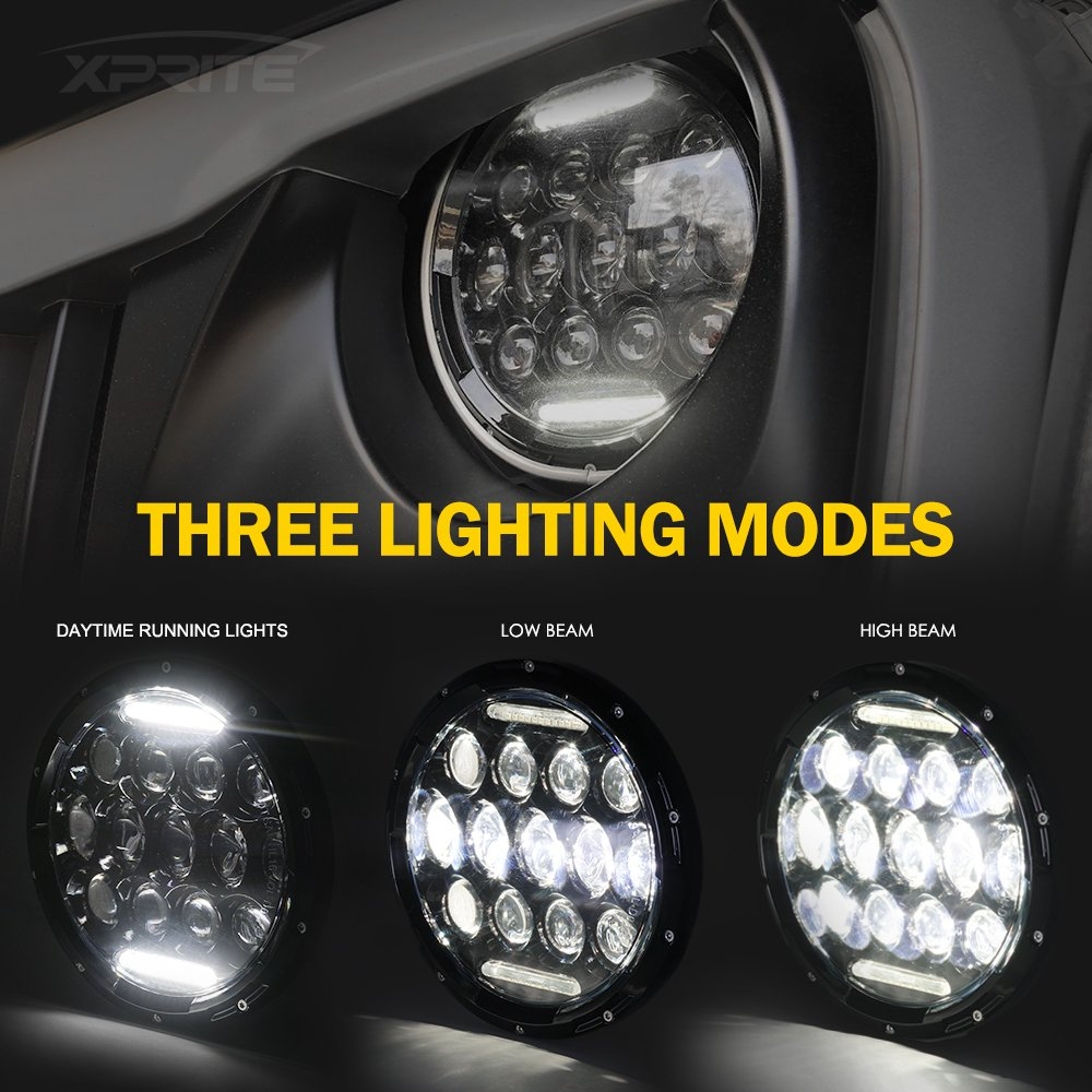 Xprite 7 Inch 75w Cree Led Headlights Hi Lo Beam With Headlamps Wiring Diagram Daytime Running Light Drl For Jeep Wrangler Jk Tj Lj 1997 2018 Dot Approved