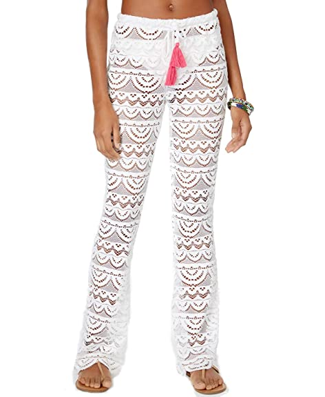 ff03568fadddb Amazon.com: Miken Women's Scalloped Crochet Swimsuit Cover-Up Pants White  Size Large: Shoes