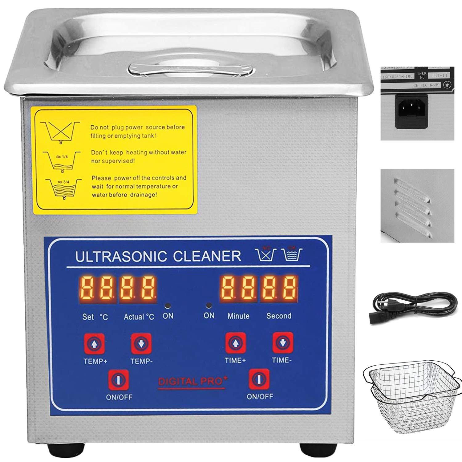 VEVOR Commercial Ultrasonic Cleaner 2L Heated Ultrasonic Cleaner with Digital Timer Jewelry Watch Glasses Cleaner Large Capacity Cleaner Solution by VEVOR