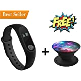 Rewy P2 Smart Band with Heart Rate Sensor Features and Many Other Impressive Features, Water Proof Or Sweat Free Fitband for All Latest Smartphones [Black]