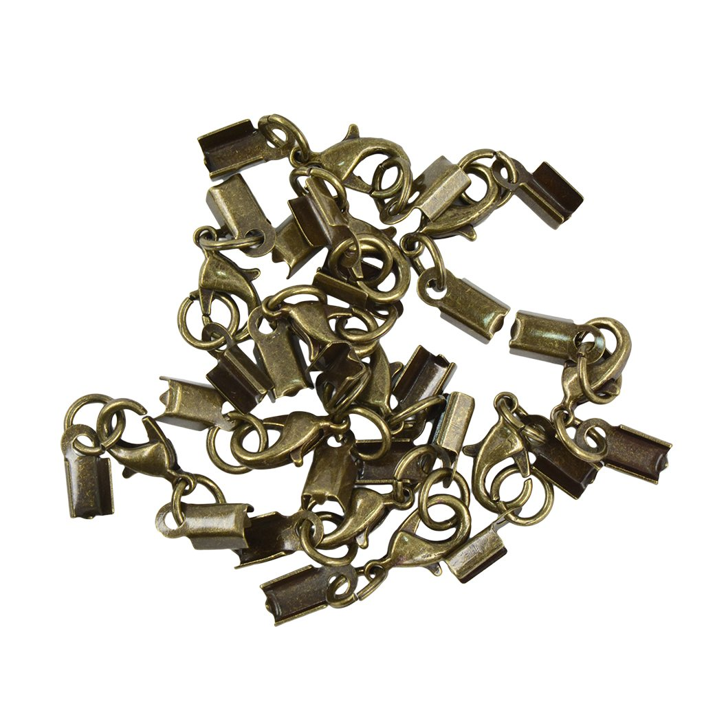 12Pcs Cord Crimp End Caps Lobster Clasp With Extender Chain DIY Findings