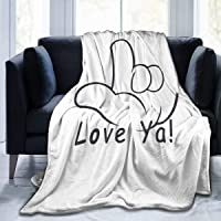 MYSTCOVER American-Sign-Language-I-Love-You Blanket Flannel Lightweight Cozy Couch Bed Novelty Warm Plush Air-Conditioning Quilt for Home Camp Trave Siesta Sofa Throw 60