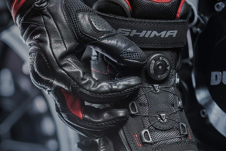 Sommer Bel/üftet Mesh Motorradschuhe mit ATOP Verschluss-System SHIMA EXO MEN BLACK Schwarz, 42