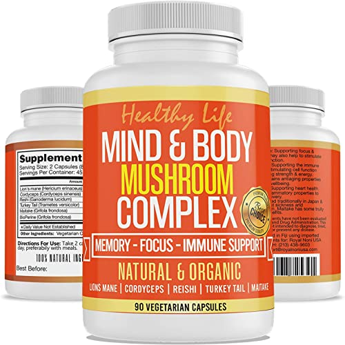 Mind Body Organic Mushrooms Lions Mane Cordyceps Reishi Turkey Tail Maitake with Black Pepper Extract for Better Absorption Increase Focus Clarity Quicken Reaction, Boost Memory Organic Certified