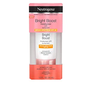 Neutrogena Bright Boost Facial Moisturizer with Broad Spectrum UVA/UVB SPF 30 Sunscreen, Brightening Oil-Free Face Moisturizer with Neoglucosamine, Moringa Seed, Vitamin C & E, 1.0 fl. oz