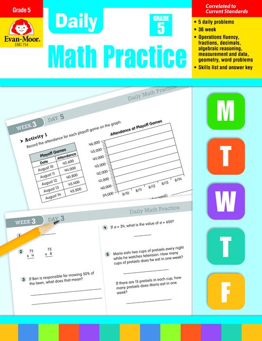 Daily Math Practice, Grade 5 - Teacher's