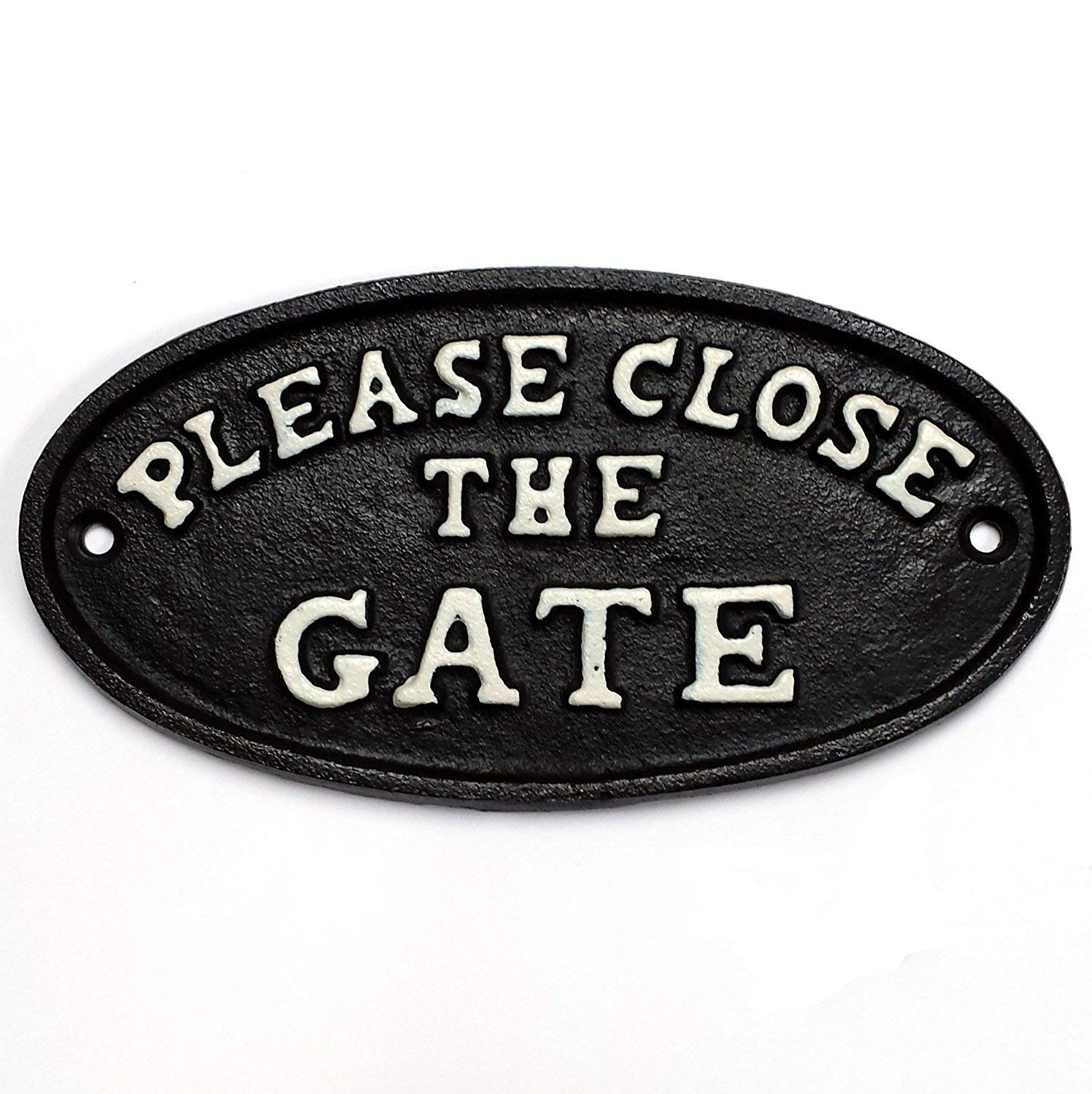 'PLEASE CLOSE THE GATE' small cast iron sign for outdoor use (Black) SN2850