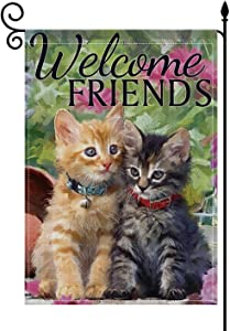 YaoChong Welcome Cut Cat Friends Garden Flag 12.5 x 18 inch,Home Decorative Burlap Spring Summer Autumn Gift Double Sided Farmhouse Yard Decorations