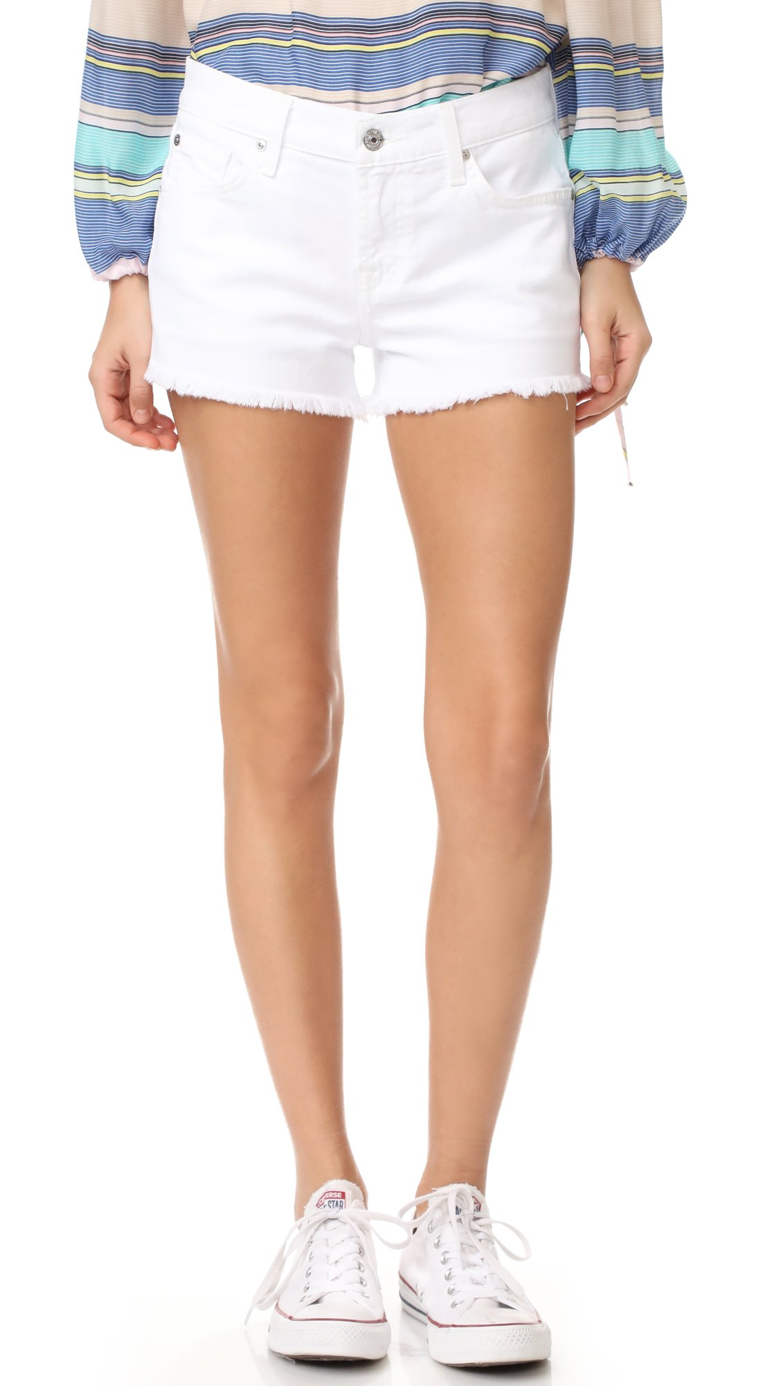7 For All Mankind Women's Cutoff Shorts, Clean White, 25