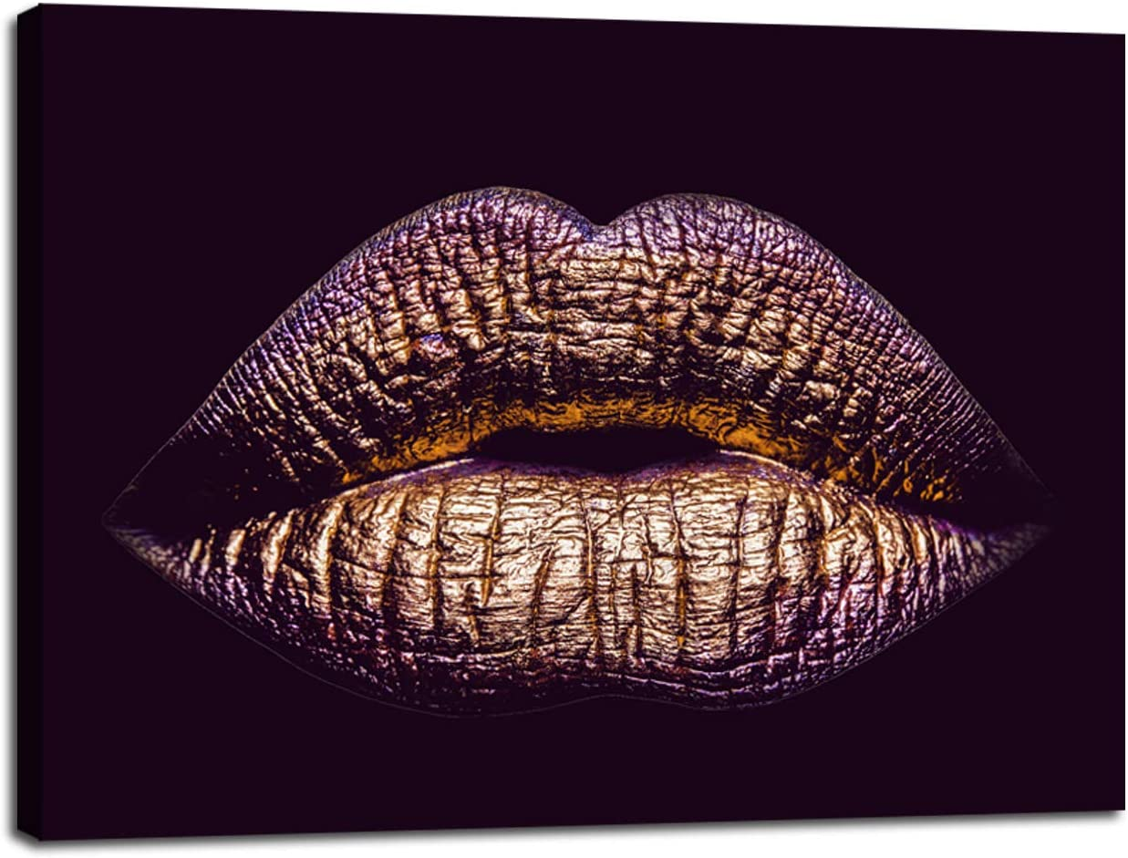 Woman Gold Lips Wall Decor Canvas Prints Makeup Body Purple Lip Art Picture Poster Frame Artwork Living Room Bedroom Beauty Salon Bathroom Home Decoration Ready to Hang(20''Wx28''H)