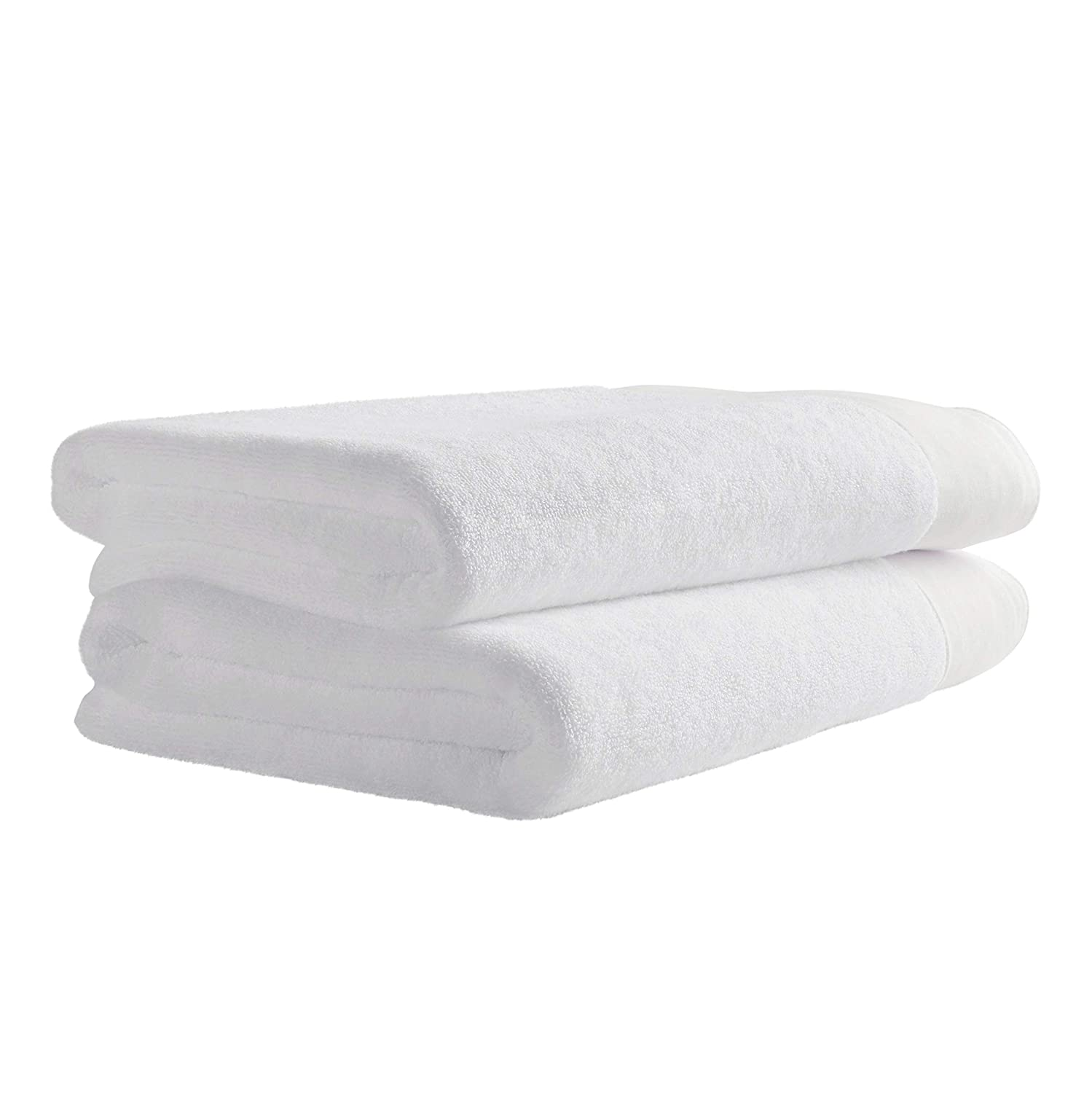 Rivet Contemporary Linen Cuffed Cotton Bath Towels 2-Pack White KASCG ABLK-151-W