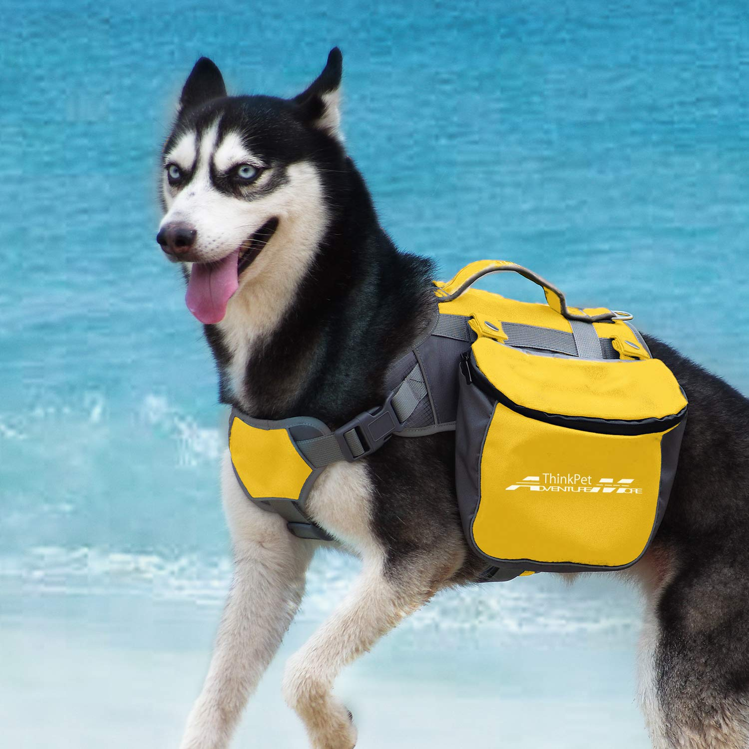 ThinkPet Outdoor Dog Backpack Reflective Saddle Bag - Dog Pack Double Bag for Hound Travel Rucksack for Medium Large Dogs by ThinkPet