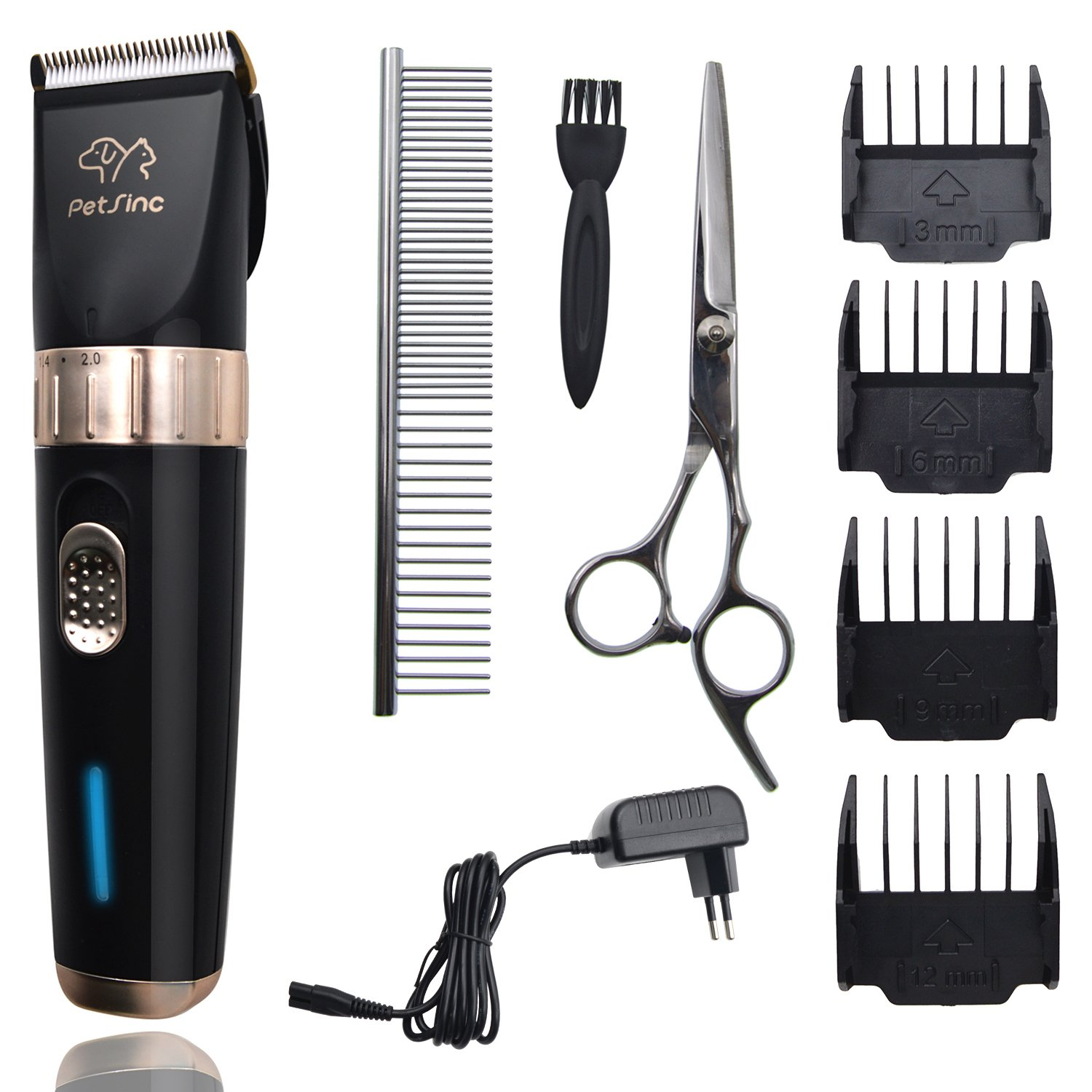 2-Speed Ceramics Pet Grooming Clippers PetSinc Professional Dog Grooming Clippers Kit for Dogs, Cats, Horses, Small Medium Large Animals Long Time Use Rechargeable 2000mAh Li-ion Battery