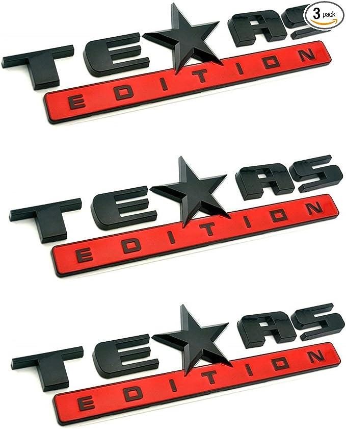 2PCS 3D Texas Edition Emblem Chevy Silverado Sierra Universal Decal,Matt Black