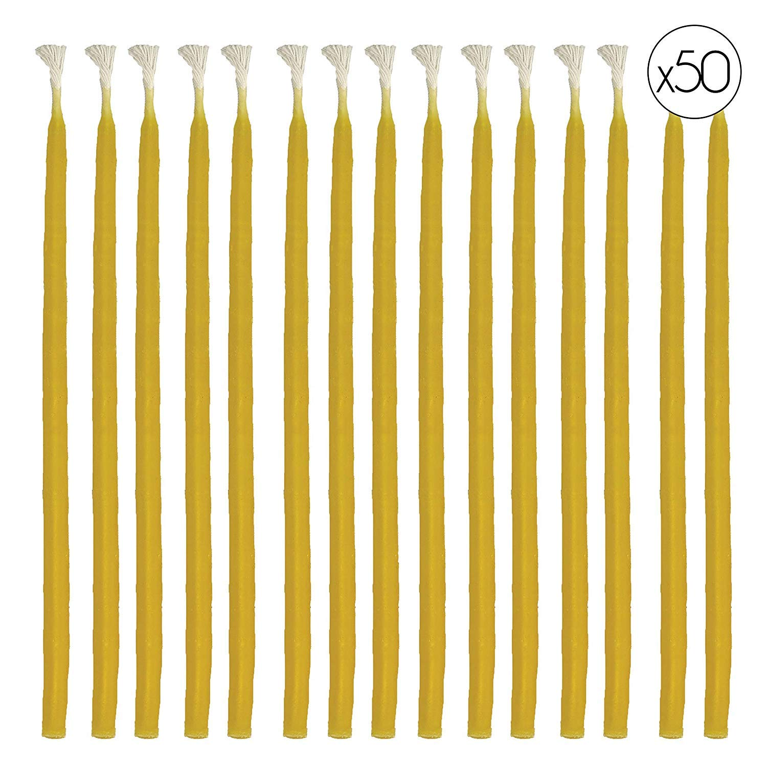 "Hyoola Beeswax Birthday Candles – 50 Pack - Natural Dripless Decorative Candles Long Lasting Burn – Elegant Taper Design, Soothing Scent – 6"" Tall – Handmade in the USA"