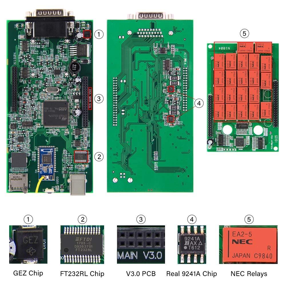 RISHENGD TCS CDP Pro Multidiag Pro 2016 r1 2015 r3 Bluetooth Scanner Outil de Diagnostic avec Keygen avec rallonge pour TCS CDP Plus,truckcable
