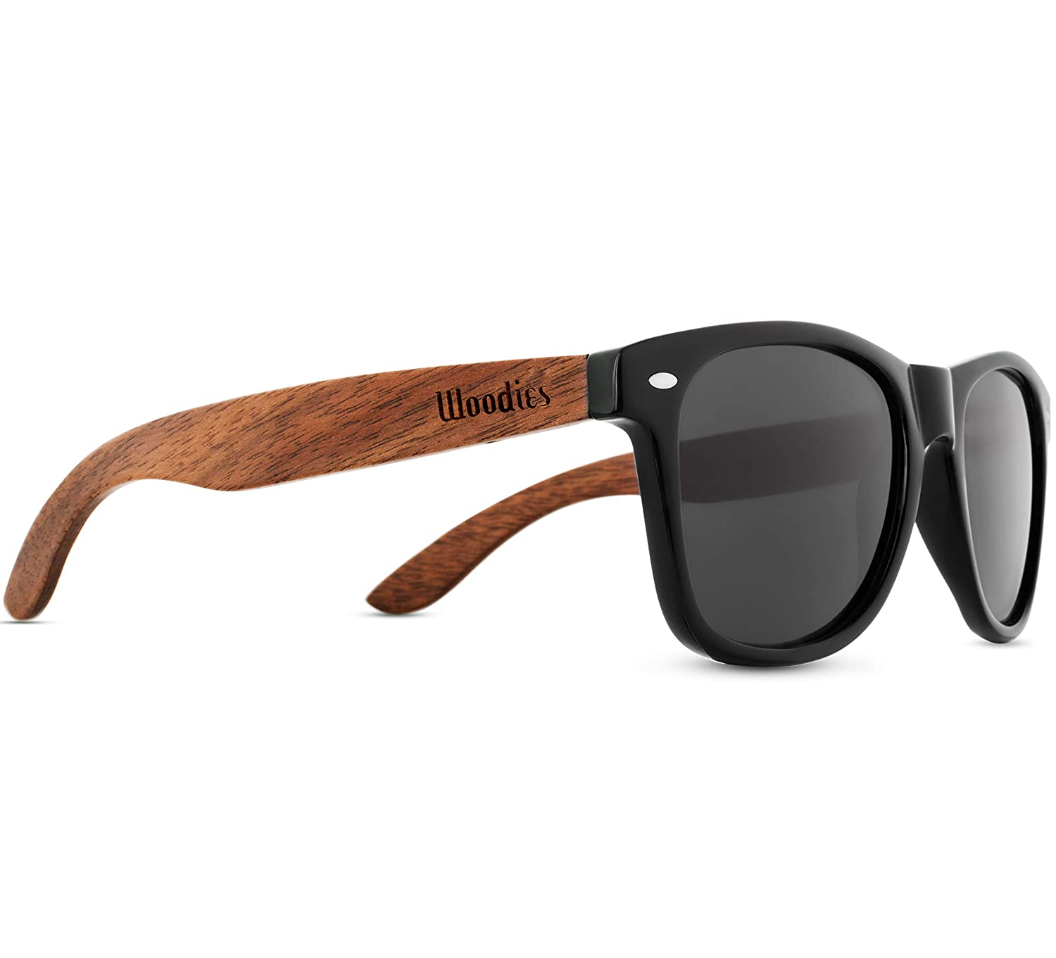 2f438b05bea Amazon.com  WOODIES Walnut Wood Sunglasses with Polarized Lens in Wood  Display Box for Men or Women  Clothing