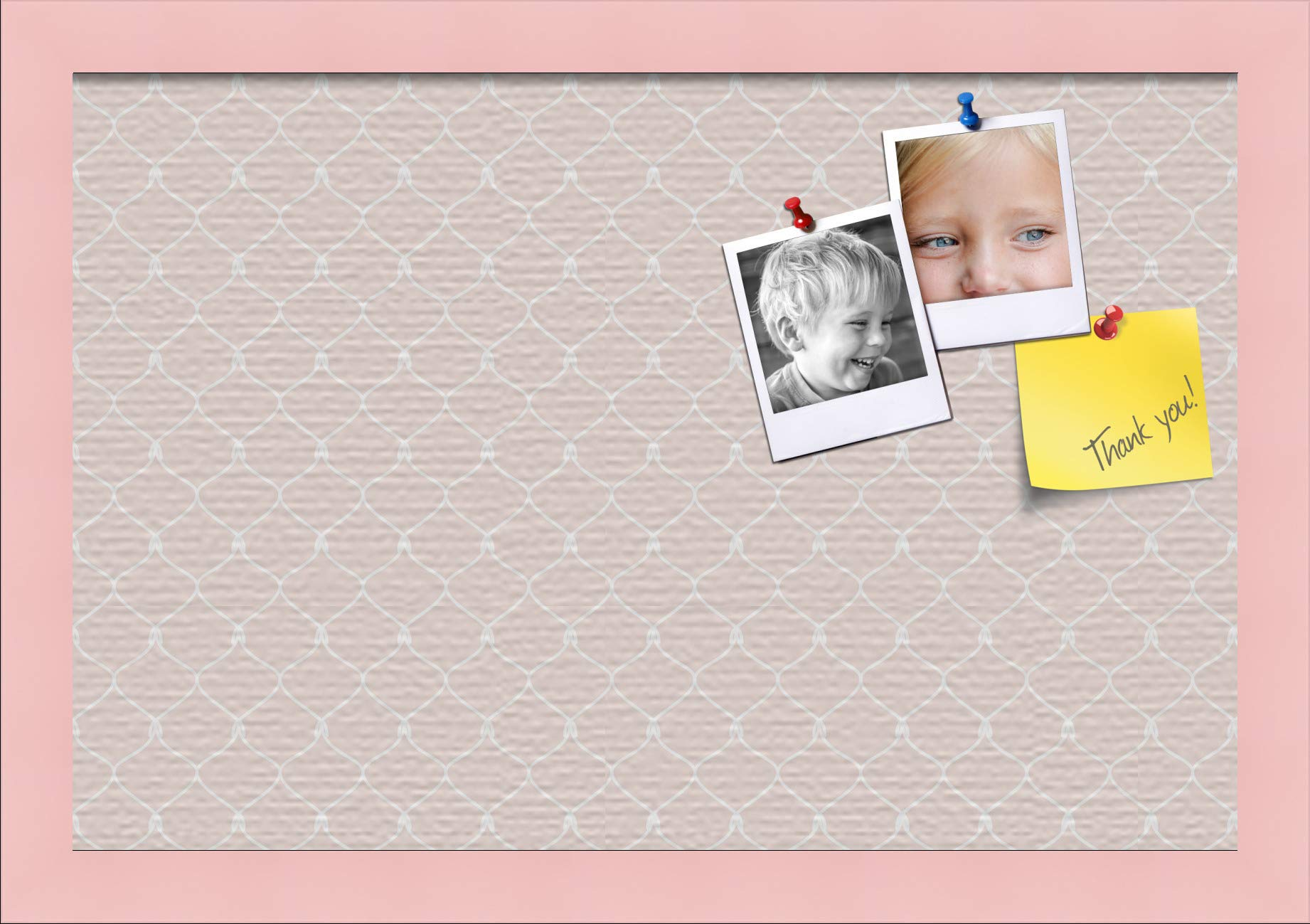 ArtToFrames 18x12 Custom Cork Bulletin Board. This Chain Pattern in Baby Pink Pin Board Has a Fabric Style Canvas Finish, Framed in Baby Pink on Beech (PinPix-575-18x12_0066-81792-YPNK) by PinPix