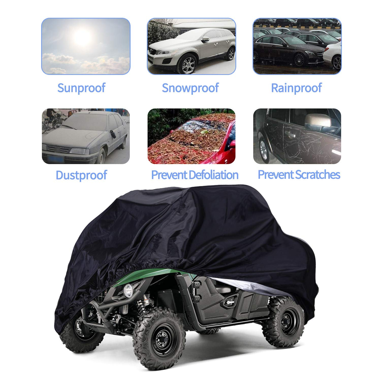 UTV Cover,Waterproof Protects 4 Wheels Rain Covers from Sun or Snow for most Yamaha Kawasaki,158.10 x 62.06 x 75.20 Polaris