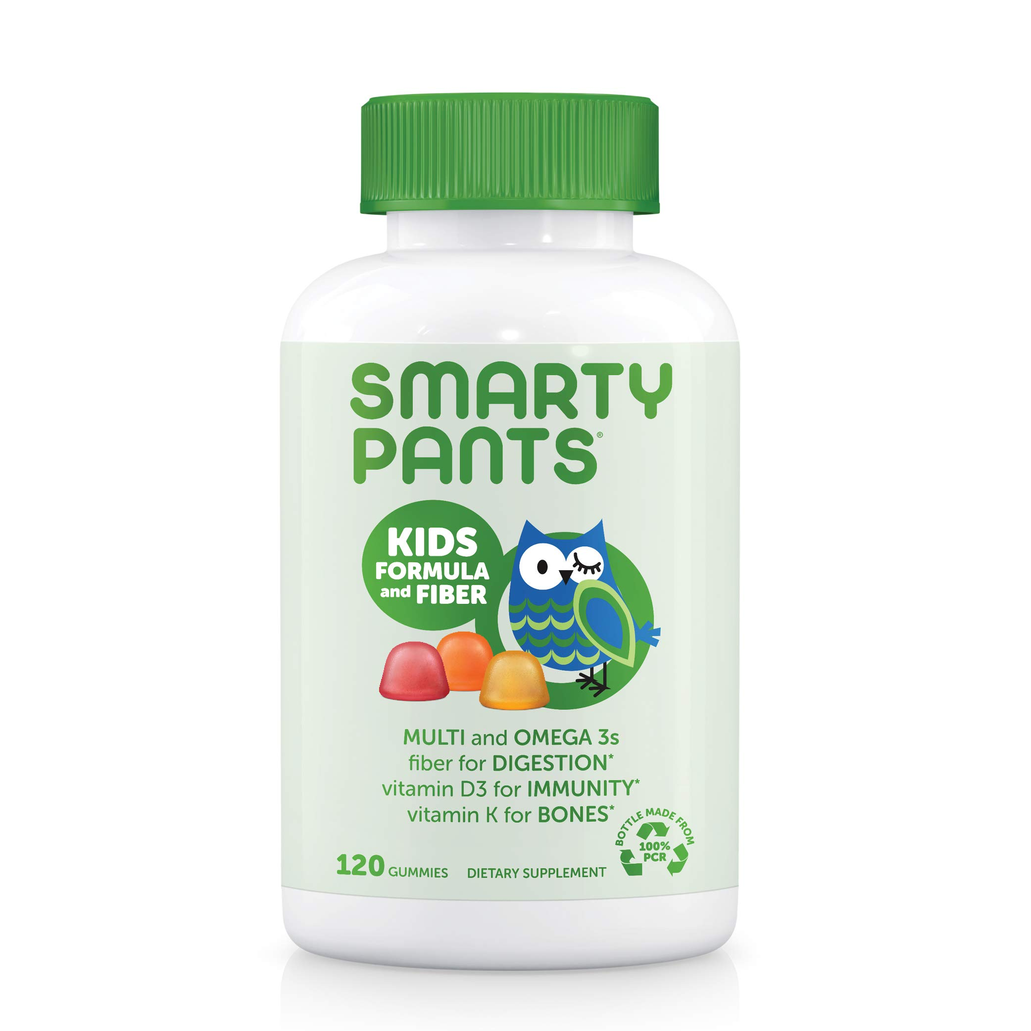 SmartyPants Kids Formula & Fiber Daily Gummy Multivitamin: Fiber for Digestive Health, Vitamin C, D3, & Zinc for Immunity, Omega 3 Fish Oil (EPA & DHA), B6, Methyl B12, 120 Count (30 Day Supply)
