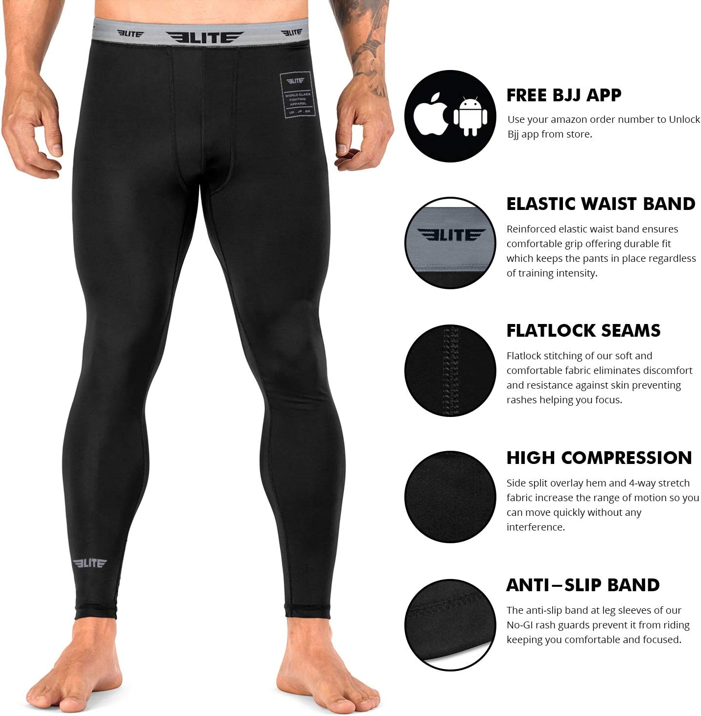 MMA Bjj Spats Compression Fight Tights Mens Gym Grappling No Gi Leggings Pants