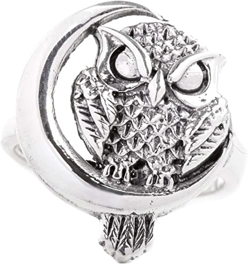 Handmade 925 Sterlingsilber Wolf /& Mond Herren Damen Ring