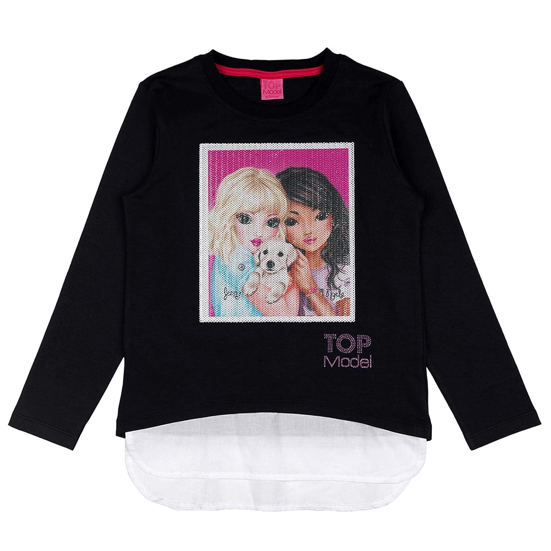 Top Model 85038 776 Kinder M/ädchen Shirt Langarm mit Paillettenapplikation Uni
