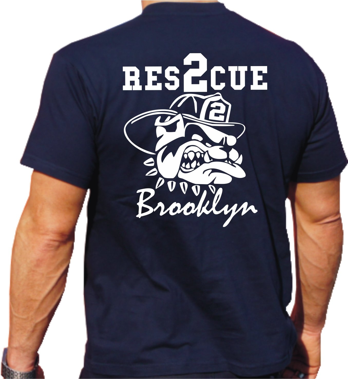 feuer1 'T-shirt Rescue 2 – con Fire Fighting Bulldog – Brooklyn – New York Vigili Del Fuoco