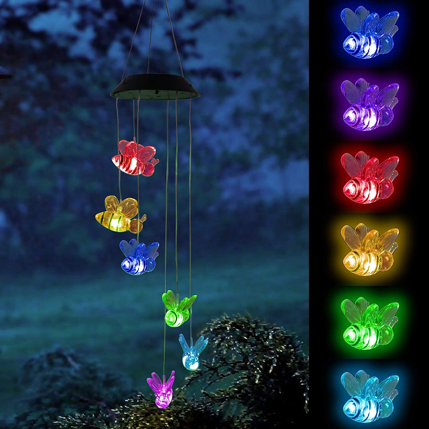 FUNPENY Solar Wind Chimes Bee, Solar Mobiles Hanging Color Changing LED Lights Waterproof Wind Chime for Garden Holiday Decoration, Friendship Wind Chimes for Outdoor, Gift for mom