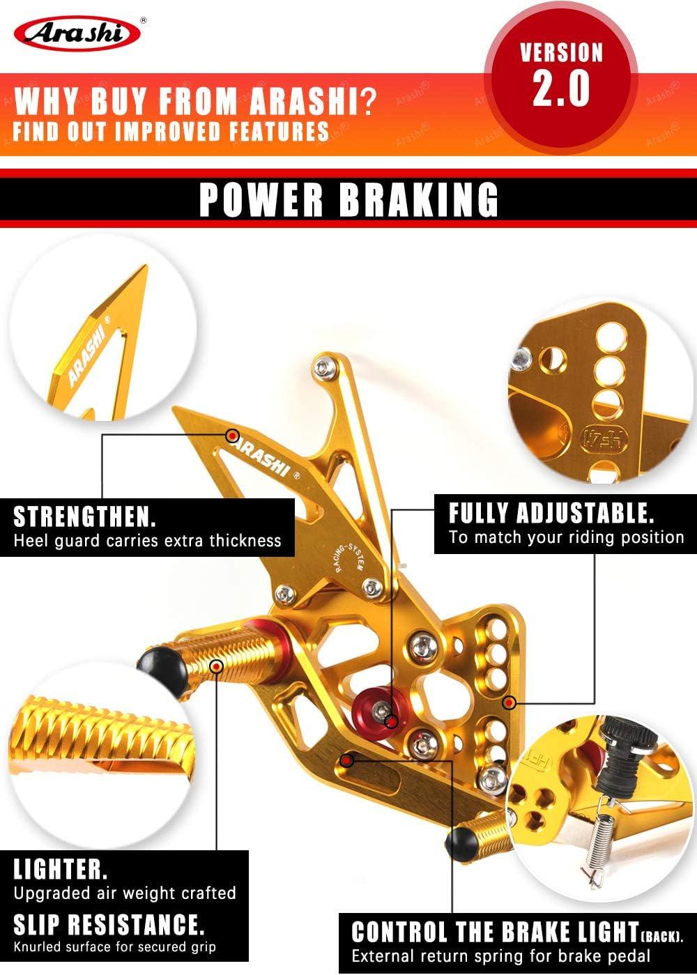Adjustable Rearsets for HONDA CBR600RR 2009-2016 ABS Motorcycle Accessories Foot Pegs Footrests Rear Set CBR 600 CBR600 RR 600RR Black 2010 2011 2012 2013 2014 2015 Arashi Version 2.0