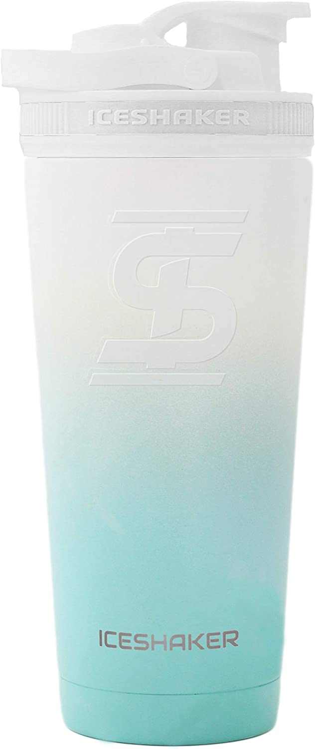 Ice Shaker Stainless Steel Insulated Water Bottle Protein Mixing Cup (As seen on Shark Tank)   Gronk Shaker   26 Oz (Mint & White)