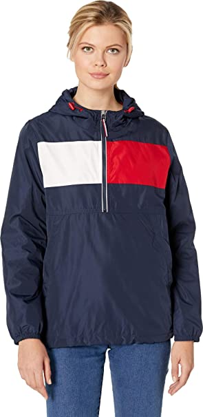 the cheapest many fashionable really comfortable Tommy Hilfiger Womens Iconic Color Block Windbreaker