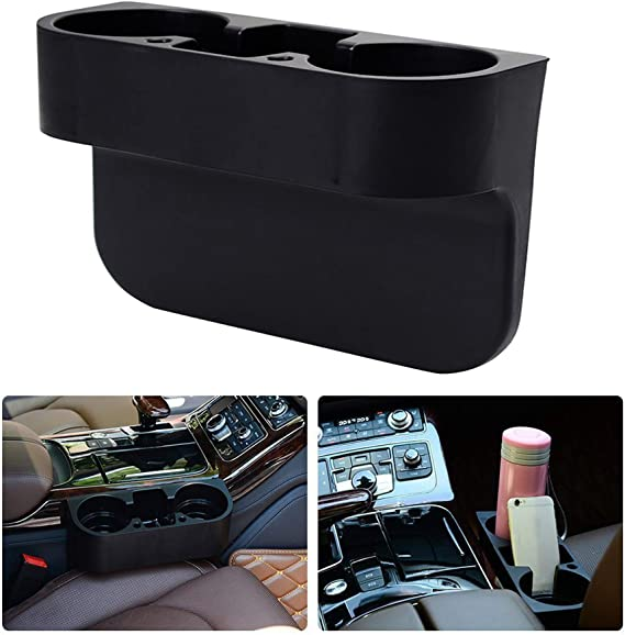 Ecloud Shop 2 Pieces Car Cup Holder 3 In 1 Car Seat Gap Organiser Storage Box Water Bottle Double Cup Mobile Phone Holder Auto