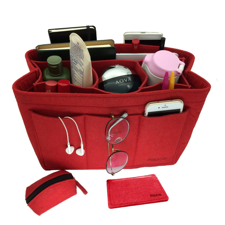 iNazoie Felt Handbag Organizer Insert Purse Organizer Bag Fits Speedy Neverfull 3 Color Medium Large X-Large (Medium, Red)
