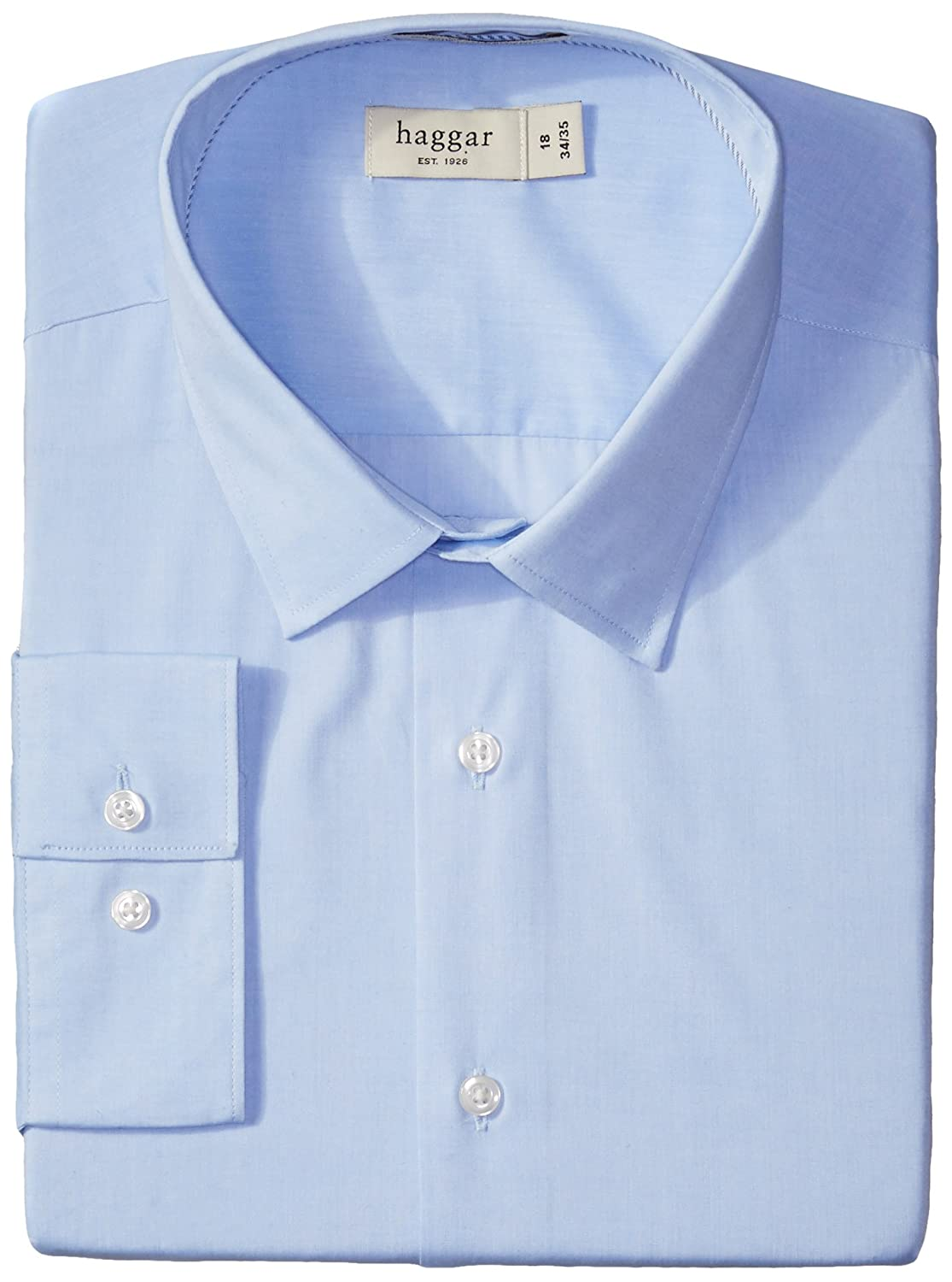 Haggar Mens Fitted Mechanical Stretch Solid Long Sleeve Dress Shirt
